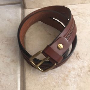 Missoni brown leather belt with brass nickel